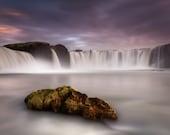 Godafoss Waterfall Rock on Canvas : Iceland Landscape