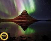Kirkjufell Mountain Aurora - Northern Lights Iceland - Nightscape Wall Art, Iceland Landscape Photo