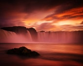 Godafoss Red on Canvas - Iceland waterfall