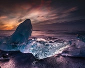 Nacreous Dawn on Canvas 2 : Diamond Beach Iceland