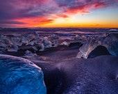 Blue Ice Beach - Aluminum Print : Jokulsarlon Iceland