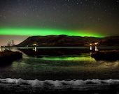 Night Lake on Canvas : Iceland Northern lights