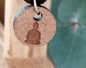 Halskette Buddha, Yoga-Symbol,  Holz Ø 1,4cm