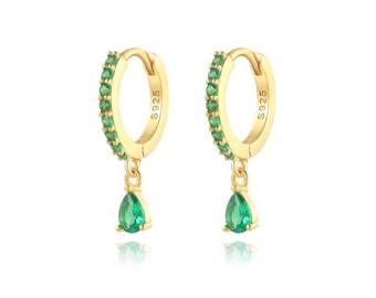 Valentine\u2019s gift May birthstone Emerald gold drop earrings green dangle earrings