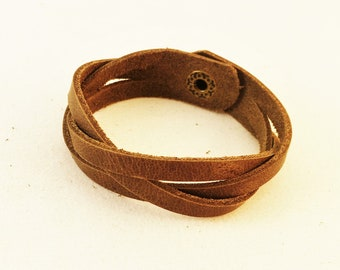 Handmade Chrome Tanned Braided Soft Leather Bracelet Arm Band With Snap Clasp