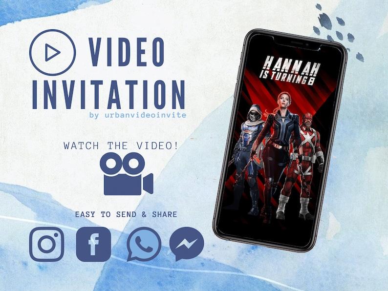 Black Widow Invitation Video Invitation Party Birthday image 0