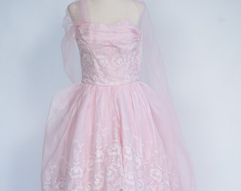Pretty in Pink 1950s Vintage Pink Prom/ Party Dress- Vintage Prom Dress- Pink Prom Dress- XXS