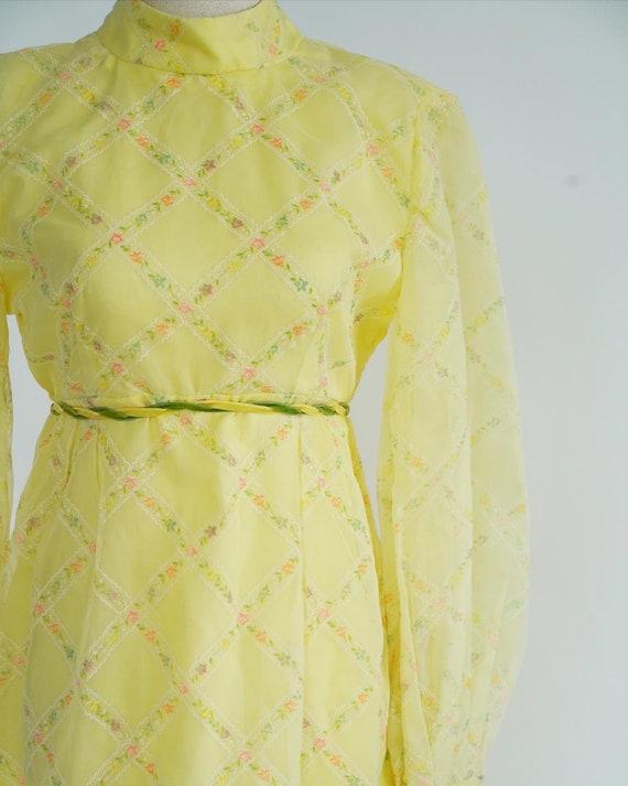 Beautiful Cottagecore 1970's Butter Yellow Maxi D… - image 2