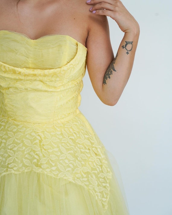 1950's Butter Yellow Tulle Midi Party Dress- 50s … - image 4