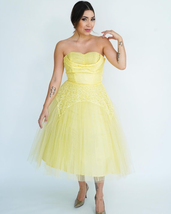 1950's Butter Yellow Tulle Midi Party Dress- 50s … - image 2