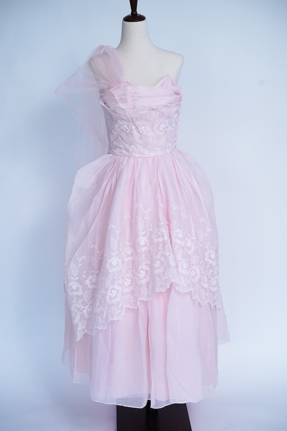 Pretty in Pink 1950s Vintage Pink Prom/ Party Dre… - image 6