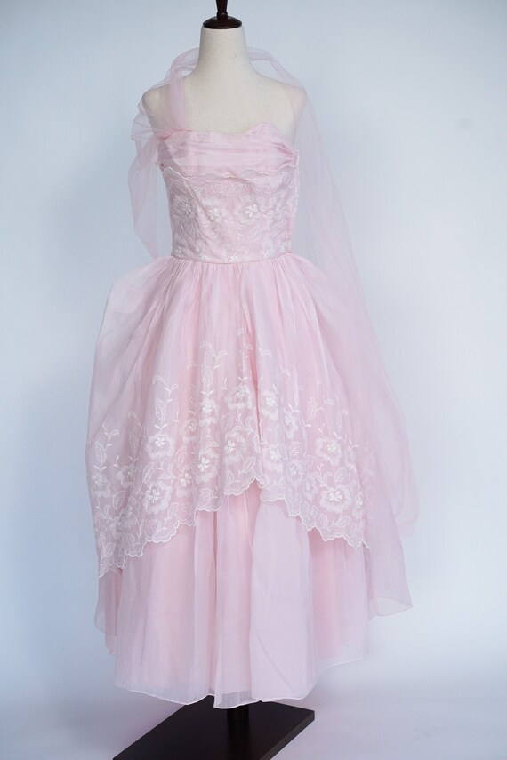 Pretty in Pink 1950s Vintage Pink Prom/ Party Dre… - image 1