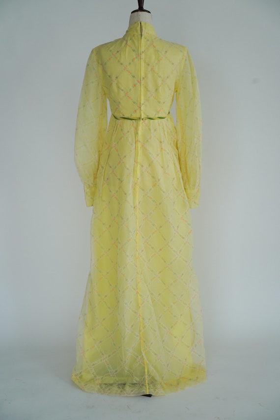 Beautiful Cottagecore 1970's Butter Yellow Maxi D… - image 4
