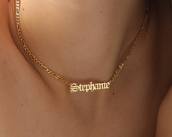 Figaro Chain Name Necklace, Old English, Name Necklace Gold, Name Plate, Personalized Gift, Birthday Gift, XW51