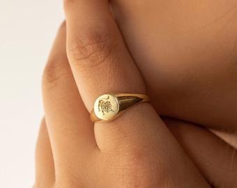 Zodiac Ring, Zodiac Signet Ring, Gold Signet Ring, Astrology Ring, Horoscope Ring in Sterling Silver, Birthday Gifts, XW30