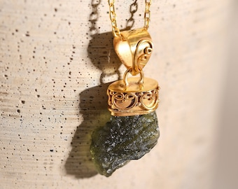100% Authentic Gold Moldavite Necklace, Genuine Moldavite, Crystal Necklace, Raw Crystal Necklace, Silver, Gold and Rose Gold, MLD-N