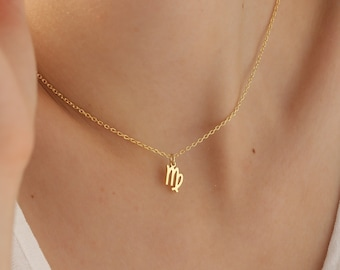 14K Gold Virgo Necklace, Zodiac Necklace Silver, Libra Necklace, Personalized Jewelry, Astrology Birthday Gift, Rose Gold, XW32
