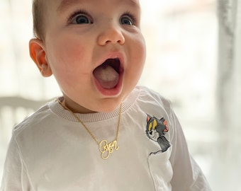 Kids Name Necklace, Personalized Necklace, Baby Necklace, Baby Gift, Silver, Rose Gold and Gold, XW10