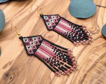 Handmade fringe earrings with a red and gold geometric pattern, playful women's jewelry with Czech glass beads