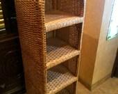 rattan shelf stand, wicker shelving unit, wicker etagere, wicker furniture, shelf rattan, rattan shelving unit, plant shelf, tall rattan