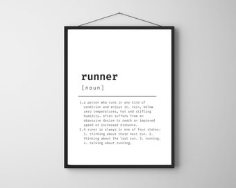 Runner Wall Art | Definition Of A Runner Quote Poster, Running, Digital Print, Home Art, Funny Poster, Funny Quotes, Typography, Wall Art
