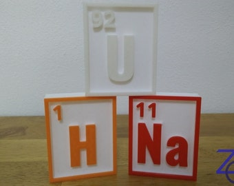 Periodic Table of the Elements Element Tile Sculpture Chemistry Art Piece, Choice of Color - Pick Color
