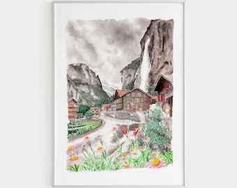 Postcard wall decor Digital Download Print Large Poster Vintage style painting Watercolor Denmark landscape