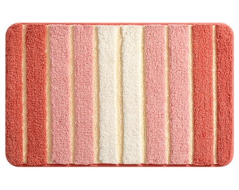 Red Ultra Soft Bathroom Rug, Simple Gradient Pink Decor for Bathroom, Water Absorbent Non Slip Soft Bath Mat, Machine Washable Fully Mat
