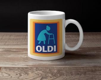 Oldi, Oldy Mug, Man and Woman Version - Novelty Mug and Coaster, Aldi Spoof