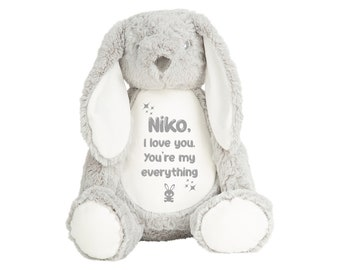 Personalised White or Grey Rabbit Teddy - Super soft plush - add your name or message!