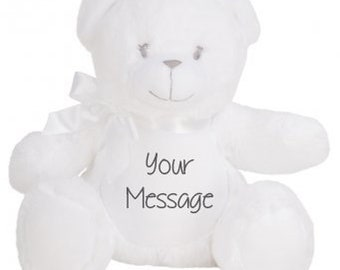 Personalised White Teddy Bear - Super soft plush - add your name or message!