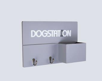 Personalised Dog Lead Hook | Grey Dog Lead Holder | Dog Organiser | Pet Hook | Wooden Dog Leash Hanger | Custom Lead Rack | New Puppy Gift |