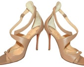 CL Malefissima Criss Cross Pumps Heels Sandals Nude Shoes