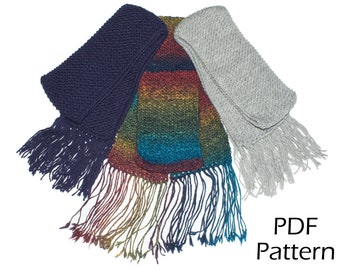 Snuggle Scarf - Knitting Pattern (Simple pattern, great for beginners, with step by step photo instructions, printable PDF)