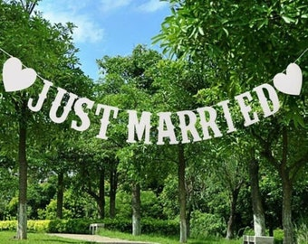 Just Married Wedding Bunting - Mr and Mrs Party White Heart Decoration Banner