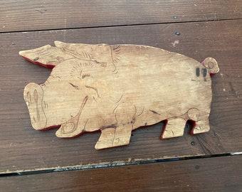 Vintage Wooden Pig Cutting Board