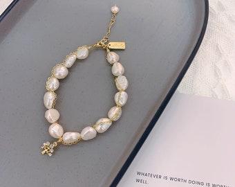 Perlen Armband mit Vergoldet Zirkon Baum,Handgemachtes Elegant Perlen Kette,Barock Faschion Schmuck,Süßwasser-Perlen Armband,Feinkette