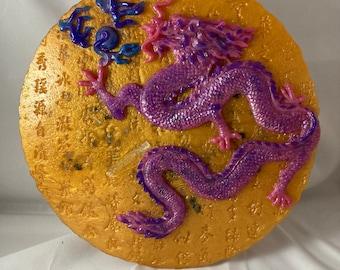Amethyst Orgone Dragon Wall Plaque