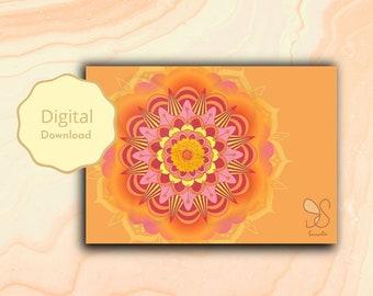 Mandala festival card, mandala design boho card, Holi, Diwali, spiritual, mandala flower, blessing, yoga meditation art gift digital card