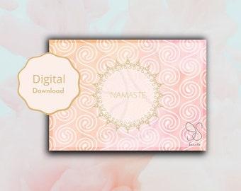 Namaste groet aquarel kaart, desi blessing salutation watercolour card, yoga meditation spiritual aquarel card, Indian greeting digital card