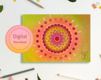 Mandala art festival card, mandaladesign boho gift card, Holi, Diwali, spiritual digital gift card, mandala flower geometry, yoga meditation