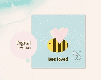 Beloved bee heart card, honingbij kaart, honey bee love card, loved ones, liefde geboorte baby geliefde bij hartjes, babyshower digital card