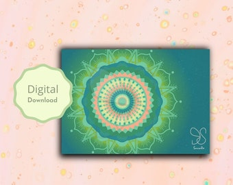 Mandala festival card, art mandaladesign boho bless card, Holi, Diwali, spiritual, green mandala geometry, yoga meditation digital gift card