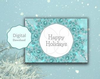 Fijne vakantie feestdagen, festive happy holidays mandala snowflake frozen ice crystal card, feast greeting, turquoise winter digital card
