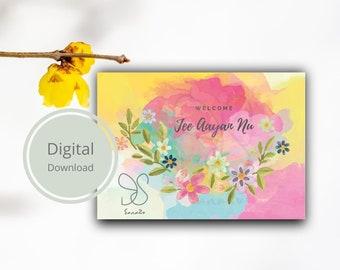 Jee aayan nu card, Punjabi watercolour gift card, welcome floral colourful wish card, desi botanical digital postcard, bloemen welkom