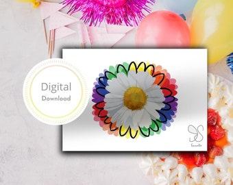 Regenboog bloem kaart, madeliefje, kamille bloem, rainbow flower power wishcard, boho gift card, floral digital card