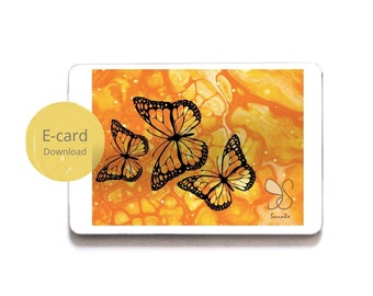 Vlinders animatie e-card, butterflies animated greeting ecard, trio butterflies moving ecard, butterfly nectar party gift card social share