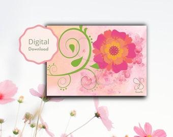 Bloem met waterverf bloesems sierkrullen, floral ornaments wish card, pink blooming aquarel giftcard, bloeiende bloemen, flower digital card