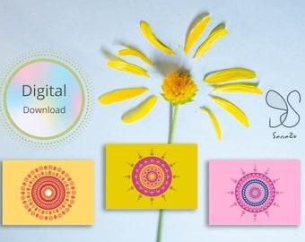 Mindful mandala kaarten set, Eid Greetings, boho festival wish cards, Diwali, meditation mandala art, yoga gift digital cards, Holi feast