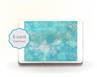 Turquoise libelle lichtjes kaart, frozen snow sparkle ice crystals digital magical dragonfly illustration animated e-card, art card painting